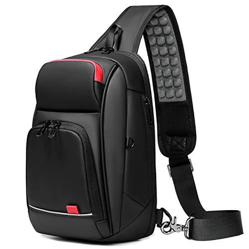 ボディバッグ メンズ ショルダーバッグ 防水 USB充電ポート搭載 斜めがけ 旅行カバン かばん男性用 左右肩掛け可能 9.7インチiPad収納可 (ブラック)