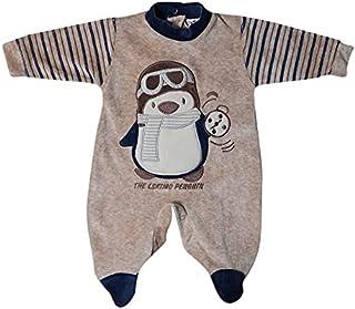 papillon Bodysuit velvet embroidered Penguin for boys -newborn-Brown