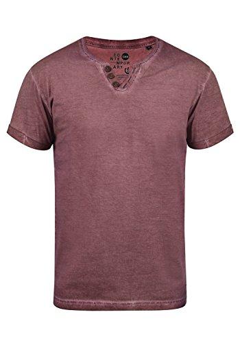 !Solid Tino Herren T-Shirt Kurzarm Shirt Mit V-Ausschnitt Aus 100% Baumwolle, Größe:M, Farbe:Wine Red (0985)