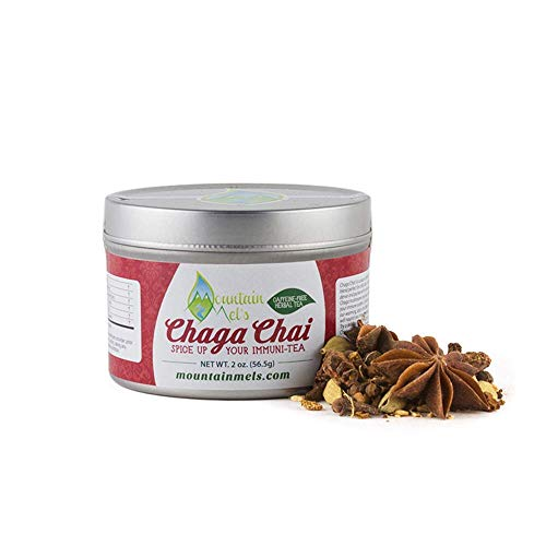 ~Chaga Chai~ All Natural Loose Leaf Herbal Tea - Warming Caffeine and Sugar Free Chai Tea Featuring Chaga Mushrooms, Up to 60 Cups of Decaf Tea Per Tin