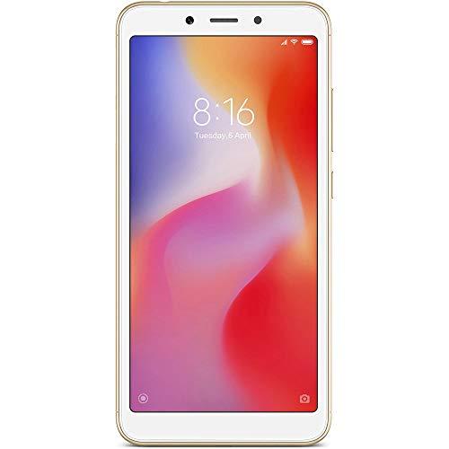 Xiaomi Redmi 6 - 64GB + 3GB RAM, Dual Camera, Dual SIM GSM Factory Unlocked Smartphone - International Global 4G LTE Version - No Warranty (Gold)
