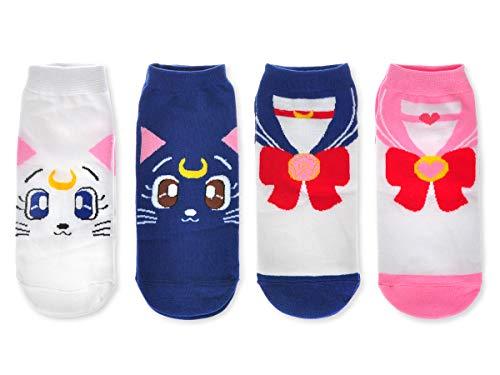 CoolChange Sailor Moon Sneaker Socken, 4 Paar, Größe: 35-38, Luna, Artemis, Schuluniform
