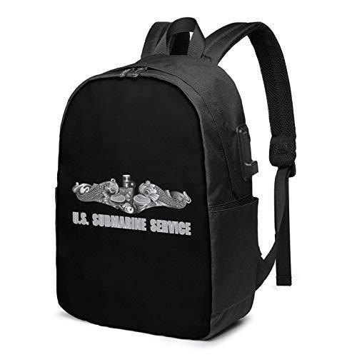 XCNGG US Submarine Service Dolphins Business Laptop School Bookbag Mochila de Viaje con Puerto de Carga USB y Puerto para Auriculares de 17 Pulgadas