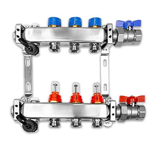 Verteiler für Fußbodenheizung, 3 Heizkreise, inkl. waagerechter Anschlussgarnitur Set