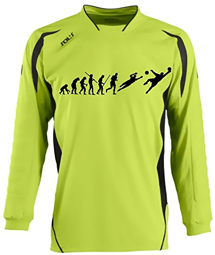 Coole-Fun-T-Shirts TORWARTTRIKOT mit Deinem Namen + Deiner Nummer Evolution Kinder Green, Kids 10-12 Jahre