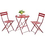 YAHEETECH Metal Folding Bistro Set, 3 Piece Outdoor Furniture All Weather-Resistant Table and Chairs Patio Conversation Set for Yard Indoor/Outdoor, Red