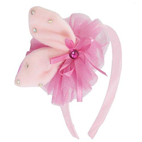 YeVhear - Aro para el pelo con detalles de flores de encaje con lazo, color rosa claro