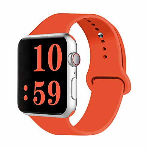 VATI Sport Band Compatible for Watch Band 42mm 44mm, Soft Silicone Sport Strap Replacement Bands Compatible with Watch Series 5/4/3/2/1, 42MM 44MM M/L (Orange)
