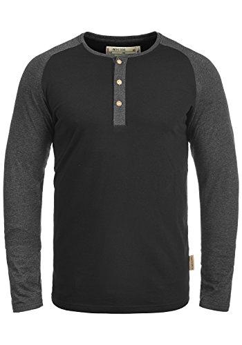 Indicode Winston Herren Longsleeve Langarmshirt Shirt Mit Grandad-Ausschnitt, Größe:M, Farbe:Black - Charcoal (9992)