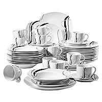 veweet fiona servizio di piatti in porcellana stoviglie set 60 pezzi con 12 tazze 175 ml, 12 piattini, 12 piatti piani, 12 piatti fondi e 12 piatti da dessert per 12 persone