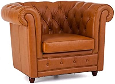 Casa-Padrino Chesterfield sofá de 2 plazas Cuero Genuino ...