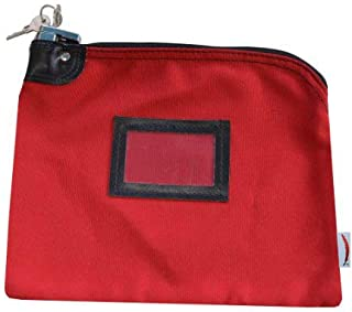 Locking Bank Bag Canvas Keyed Security (Red)