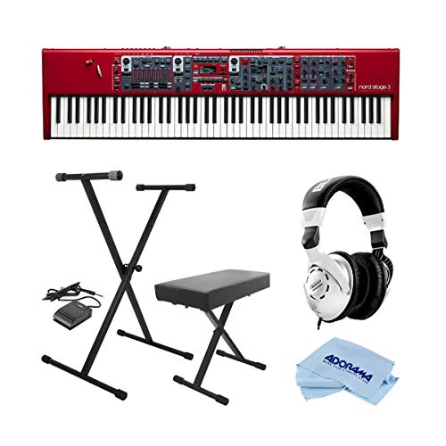 NORD Stage 3 88 88-Key Digital Stage Piano with Fully Weighted Hammer Action Keybed - Bundle With On-Stage KPK6520 Keyboard Stand/Bench Pack with Sustain Pedal, Behringer HPS3000 HP Studio Headphones,