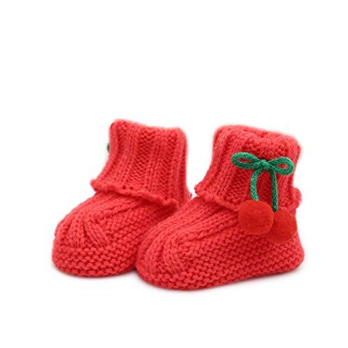 Unbekannt Auxma Baby süße Wolle Schuhe,Warme Winter Strick Socken für Säugling 0-6 Monate (rot)