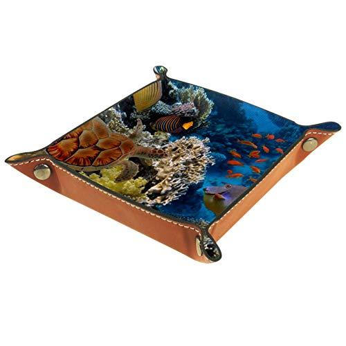 Ledertablett,Schmucktablett Dekoplatte,Buntes Aquarium, das verschiedene Fische zeigt,Leder Tablett,Aufbewahrungstablett für Schmuck Schlüssel Armbanduhr Wohnzimmer Tisch Küche