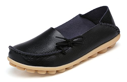 VenusCelia Women's Comfort Walking Office Flat Loafer(5 M US,Black)