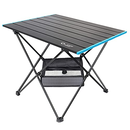 Portable Folding Camping Table, SPITZE FORGE Ultralight Camp Folding Side Table with Mesh Storage Bag and Carry Bag, Perfect for Outdoor, Picnic, BBQ, Cooking, Beach, Backpacking, Travel, Home