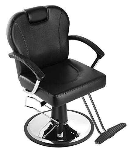 Eastmagic Hydraulic Reclining Salon Chair Barber Chair with Movable Headrest Beauty Salon Equipment All Purpose (Black)
