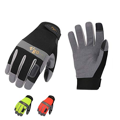 Vgo Glove Guanti, 3 paia, guanti da lavoro uomo in pelle, guanti da meccanico, giardino, edile, multifunzione (9/L, Nero+Verde+Arancione, SL7584)