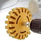 Outils de suppression d'autocollants en vinyle,décollant de décalcomanie,roue de gomme en caoutchouc de 4 pouces avec kit d'adaptation pour perceuse, 5/16-24 dents