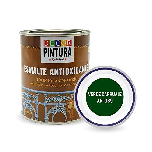 Pintura Verde carruaje Antioxidante Exterior para Metal minio Pinturas Esmalte Antioxido para galvanizado, hierro, forja, barandilla, chapa para interiores y exteriores - Lata 750ml
