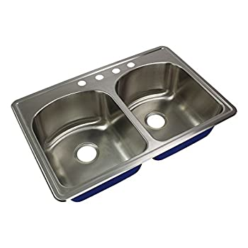 Transolid MTDD33229-4 Meridian 4-Hole Drop-in 50/50 Double Bowl 16-Gauge Stainless Steel Kitchen Sink 33-in x 22-in x 9-in Brushed Finish