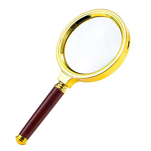 Large Magnifying Glass for Reading - Magnifying Glasses for Hobbies - Magnifier for Kids - Ideal Childrens Magnifiers - Handheld Classic Magnifying Glass Wooden Handle and Sturdy Metal Rim