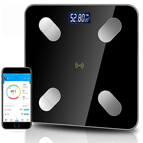 Körperfettwaage, Digital Personenwaagen, Bluetooth Körperanalysewaage mit App, Personenwaagen mit Step-On Technologie, 4 Hochpräzise Sensoren, extragroßer LCD-Anzeige(kg & lb)