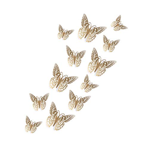 Jaromepower 12 pegatinas de pared con diseño de mariposas 3D, para decoración de pared, decoración de pared, dormitorio de niña, cuarto de baño, guardería, oficina, papel de pared