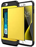 SAMONPOW Wallet Case for iPhone 7 Case with Card Holder Dual Layer Hybrid Shell Heavy Duty Protection Shockproof Soft Rubber Cover Case for iPhone 7 iPhone 8 iPhone SE (2020) 4.7 inch Yellow