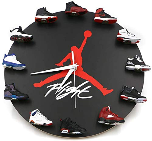 HlzF Orologio da Parete con Scarpe Jordan da 12 Pollici/30cm con 1-12 Mini Sneakers 3D Orologio da Sneaker Silenzioso di Basket Arredamento Stanza di Riposo Decor Stile Sneaker