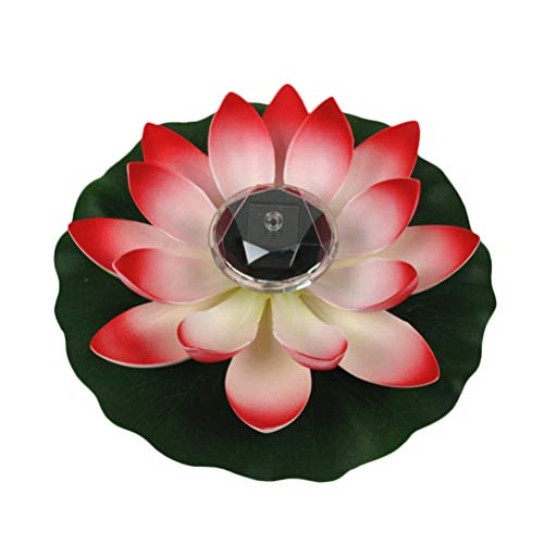 Uonlytech LED Schwimmende Lichter, Wasserdichte Lotus Blume LED Wunschlicht, Lotus Teich Lichter für Pool Garden (1Pcs, Rot)