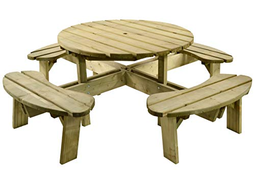BrackenStyle Premium Quality Pressure Treated 8 Seater Wooden Round Picnic Table - Heavy Duty Pub Bench