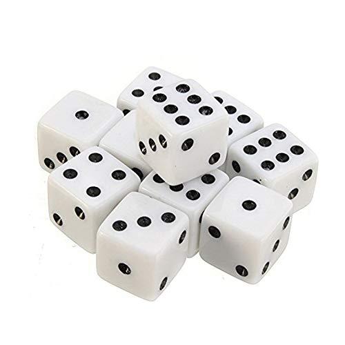 kentop 100Dados Blanco Dados de 6caras 8mm Para matemáticas Aprendizaje, Casino, Juego, fijo y regalo