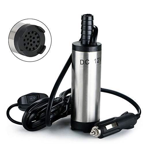 flintronic Ölpumpe Wasser Pumpe mit Kunststofffilternetz, 12 V, 38 mm, Diesel Kraftstoff Wasserpumpe, Tauchpumpe Öl Diesel Heizöl Wasser Tauchpumpe für Auto, Caravan, Marine