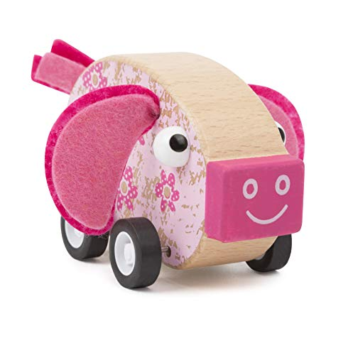 Small Foot 11151 Rückzieh-Tier Schwein aus Holz, FSC 100%-Zertifiziert, hochwertiges Rückziehtier zum Aufziehen und Fahren Spielzeug, Mehrfarbig