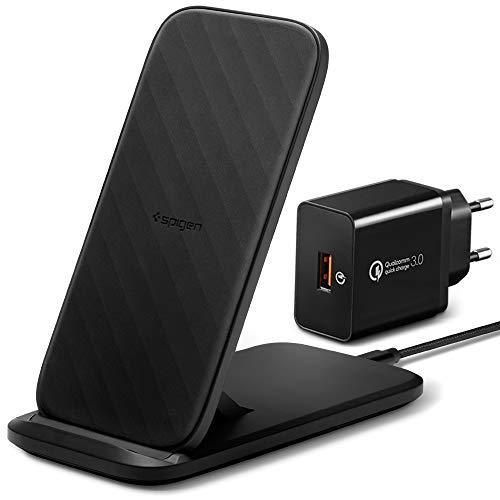 Spigen SteadiBoost Wireless Charger Kabelloses 15W Ladegerät inkl. QC 3.0 Netzteil Qi Ladestation Kompatibel mit iPhone SE 2020 11 X XR XS Max 8 Plus Galaxy S20 S10 S9 S8 Note 10 und mehr