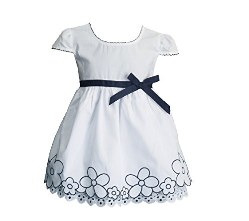 Cinda Robe de Coton d'été de bébé Filles Blanc 18-24 Moise