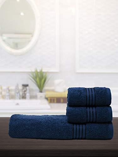 Trident Utsav Collection, 100% Cotton, Highly Absorbent, Bathroom Towels, Super Soft, 3 Piece Towel Set (1 Large Bath Towel, 2...