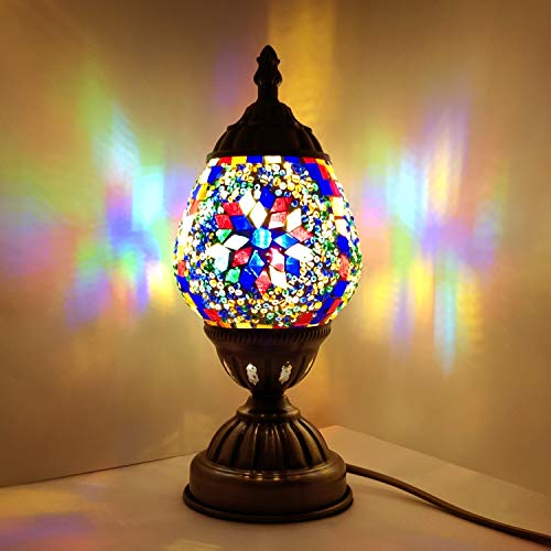 Handmade Turkish Lamp Mosaic Glass Egg Lantern Bedside Table Desk Night Lamp Decorative Tiffany Moroccan Style (Multicolor)