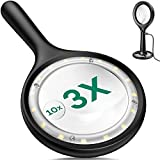Rechargeable Magnifying Glass with Light 16 LED...