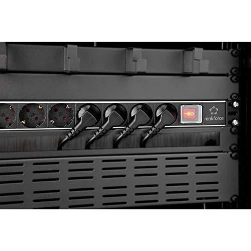 Renkforce RF-3426424 19 Zoll Netzwerkschrank-Steckdosenleiste 1 HE Schutzkontaktsteckdose mit Schalter Schwarz, Grau