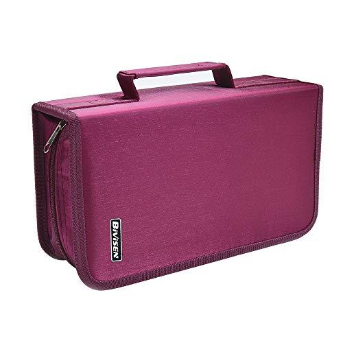 Bivisen 128枚CD DVD 収納バッグ CDケースハンドル付き ファスナー付き 持ち運び便利 オフィス用小型 (蔷薇色)