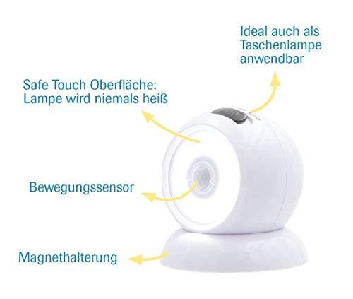 Mediashop Handylux Light-Ball LED Powerlicht- Ball - 360 Grad drehbar - magnetisch - Batterie-Leuchte   Taschenlampe - Bewegungssensor - Nachtlicht - Safe Touch Oberfläche - 4 Stück - 6