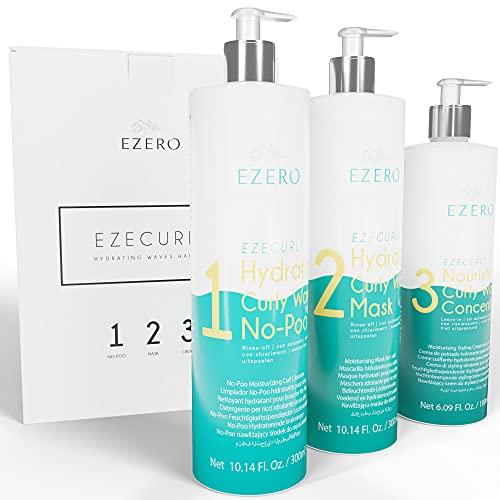 EZERO Metodo Curly Girl Productos Con Champu Pelo Rizado (No-poo), Mascarilla Pelo Rizado Y Crema Activador De Rizos Metodo Curly - Producto Profesional - Sin Sulfatos Ni Parabenos - Vegano