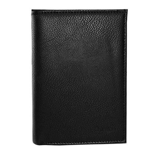 Charmoni - GC101 - Grand Classique Portefeuille Homme Porte Carte Crédit Visite Monnaie en Cuir Synthétique (Noir)