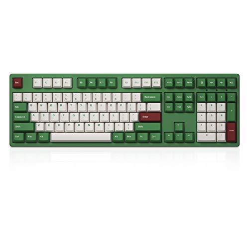 Akko Mechanische Gaming-Tastatur mit 108 Tasten, mit Kabel, Matcha Red Bean Themed programmierbare Tastatur, PBT Doubleshot Keycaps und Anti-Ghosting (Gateron Orange Tactile Switch)