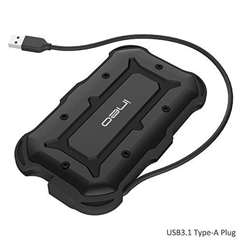 """USB 3.1 Type-A Wasserfestes Festplattengehäuse für 2,5-Zoll Festplatte - ElecGear Externes Festplatten Gehäuse IPX6 Wasserbeständig, IP6X Military Stoßfest Case für 2,5"""" SATA HDD SSD Hard Drive"""