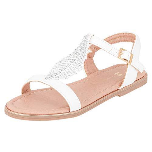 Modische Mädchen Sandalen Sandaletten Kinder Schuhe in Glitzeroptik mit Schnalle M546ws Weiß 32 EU