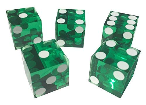 5 x FOIL SEALED GREEN NEW PERFECT 19MM PRECISION CASINO DICE / CRAPS STUNNING